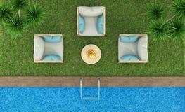 Vue supérieure d'un jardin avec la piscine Photo stock