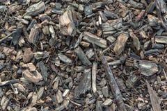 Vue supérieure d'un mélange des déchets de bois photos stock