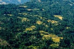 Vue supérieure d'un village de montagne, Sikkim Photographie stock libre de droits