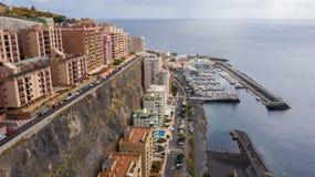 Vue supérieure d'une côte les bâtiments de l'île de Ténérife, Îles Canaries, Espagne photos libres de droits