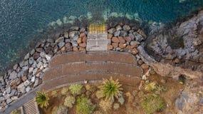 Vue supérieure d'une côte les bâtiments de l'île de Ténérife, Îles Canaries, Espagne image libre de droits
