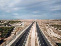 Vue supérieure d'une route en Israël Photo libre de droits