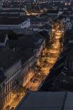 Vue supérieure d'une rue la nuit Images libres de droits