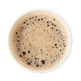 Vue supérieure d'une tasse de papier de café noir photographie stock