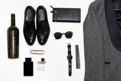Vue supérieure dans le style, la mode, l'habillement et le style des hommes photographie stock libre de droits