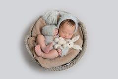 Vue supérieure de bébé garçon nouveau-né s'étendant dans une cuvette image libre de droits