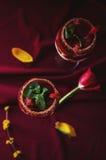 Vue supérieure de bagatelle de fraises, de chocolat et de mascarpone Images libres de droits
