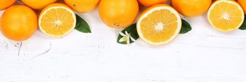 Vue supérieure de bannière de copyspace de fruits d'orange d'oranges Photo libre de droits