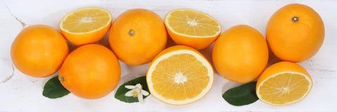 Vue supérieure de bannière de fruits d'orange d'oranges Photographie stock libre de droits