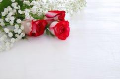 Vue supérieure de belles et sensibles roses sur le fond en bois Images stock