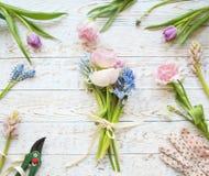 Vue supérieure de bouquet de fleur de ressort image stock