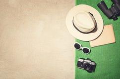 Vue supérieure de cadre de plage sablonneuse Fond d'effet de vintage Photo stock