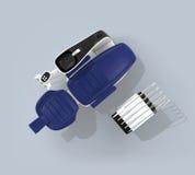Vue supérieure de chaise de dentiste d'isolement sur le fond bleu-clair Chemin de découpage procurable image libre de droits