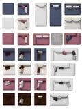 Vue supérieure de collection de sofa avec des oreillers Images stock