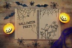 Vue supérieure de concept de vacances de Halloween Photo stock