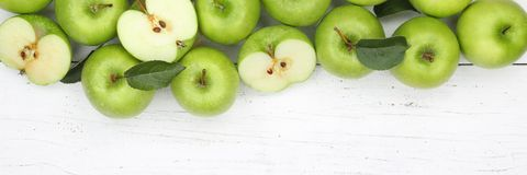 Vue supérieure de copyspace de vert de bannière de fruits de fruit de pomme de pommes Image stock