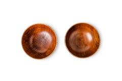 Vue supérieure de cuvette en bois vide images stock