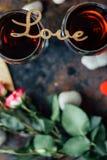 Vue supérieure de dîner de Saint-Valentin Photographie stock