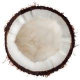 Vue supérieure de demi noix de coco d'isolement sur le blanc Images libres de droits