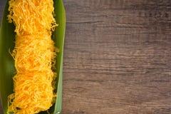 Vue supérieure de dessert thaïlandais de fils d'or Photo libre de droits