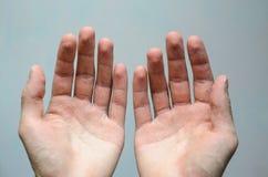 Vue supérieure de deux mains vides image libre de droits