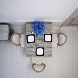 Vue supérieure de diner blanc avec la table grise Images stock