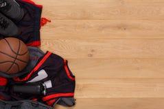 Vue supérieure de fond d'équipement de joueur de basket Photo libre de droits