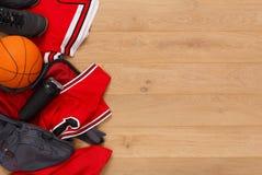 Vue supérieure de fond d'équipement de joueur de basket Images libres de droits
