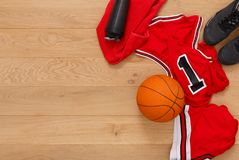 Vue supérieure de fond d'équipement de joueur de basket Image libre de droits