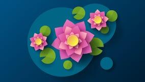 Vue supérieure de fond de Lotus In Cartoon Style Dark Illustration de vecteur de dessin animé Configuration abstraite Élément déc illustration stock