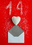 Vue supérieure de fond rouge avec l'idée de jour du ` s de valentine Conce d'amour Photo libre de droits