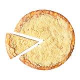 Vue supérieure de gâteau au fromage avec le morceau coupé Image libre de droits
