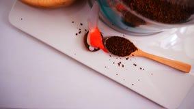 Vue supérieure de grains de café sur le fond blanc propre avec la composition des tasses de café, oiseaux colorés, lampes, jardin photos stock