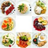 Vue supérieure de huit plats différents de restaurant Photographie stock libre de droits