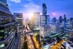 Vue supérieure de jonction de sathorn à Bangkok image stock