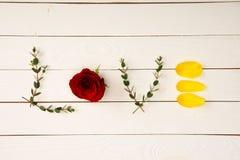 vue supérieure de l'amour de mot faite à partir des éléments floraux Images stock