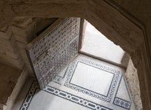 Vue supérieure de l'entrée de la citadelle de Qaitbay, l'Alexandrie, Photo libre de droits