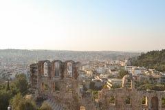 Vue supérieure de l'Odeon de l'Atticus de Herodes Photo libre de droits