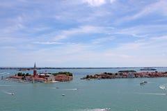 Vue supérieure de la lagune vénitienne avec les îles de Venise Italie photos stock