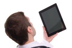 Vue supérieure de la main de médecin tenant le PC de comprimé Photos stock