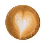 Vue supérieure de la mousse chaude de forme de coeur d'art de latte de café d'isolement sur le wh Photographie stock