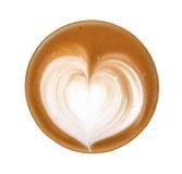 Vue supérieure de la mousse chaude de forme de coeur d'art de latte de café d'isolement sur le wh Photos stock