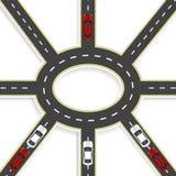 Vue supérieure de la perspective 3D Échange de route de huit routes et ronds points Vecteur de véhicules Illustration Photo stock