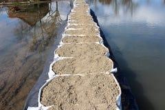 Vue supérieure de la protection d'inondation de barrières de bac à sable photos libres de droits