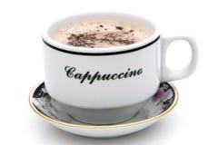 Vue supérieure de la tasse chaude de cappuccino d'isolement sur le fond blanc photographie stock