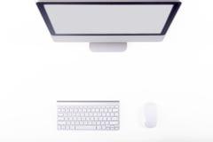 Vue supérieure de lieu de travail de concepteur sur le fond blanc Photos libres de droits
