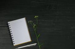 Vue supérieure de livre ouvert Livre ouvert avec le stylo sur le fond en bois a images stock
