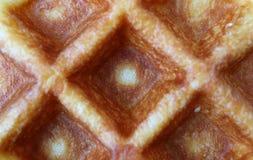 Vue supérieure de macro tir de gaufre belge cuite au four fraîche pour la texture de nourriture, fond image stock