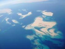 Vue supérieure de mer et de terre, vue de l'Egypte de l'avion images libres de droits