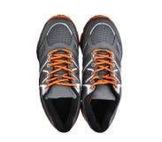 Vue supérieure de nouvelles chaussures sans marque de sport d'isolement sur le blanc Photographie stock libre de droits